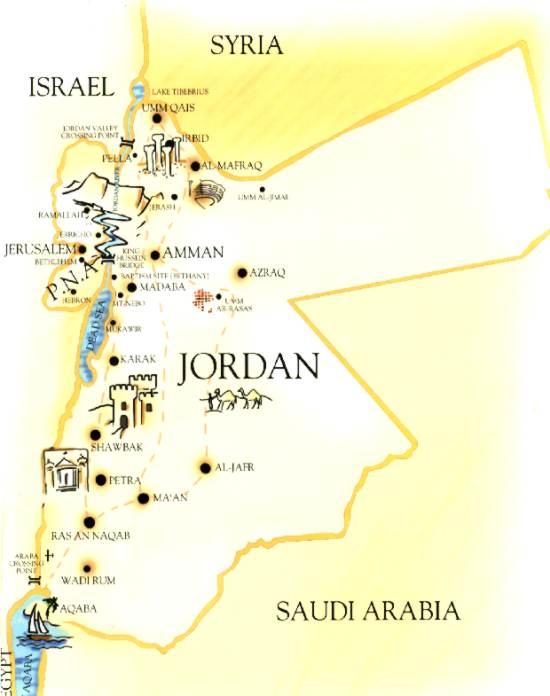 Jordanien Karte.Jordanien Karte